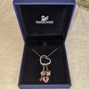 Swarovski Heart Necklace with Pink & Clear Crystal